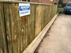 Extended driveway width and supplied new 1.2m close board fence. Chaffinch Close, Taunton