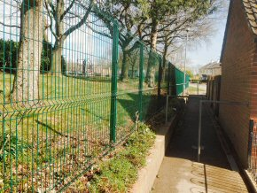 Security fencing at Lyngford Park School.
