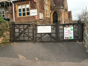 Replacement front entrance gates for Wiveliscombe Primary School (BEFORE).