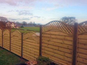 Hit and miss fencing with trellis on top at Oake, near Taunton, Somerset.