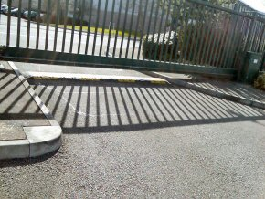 Automatic security gate on an industrial site in Bridgwater.